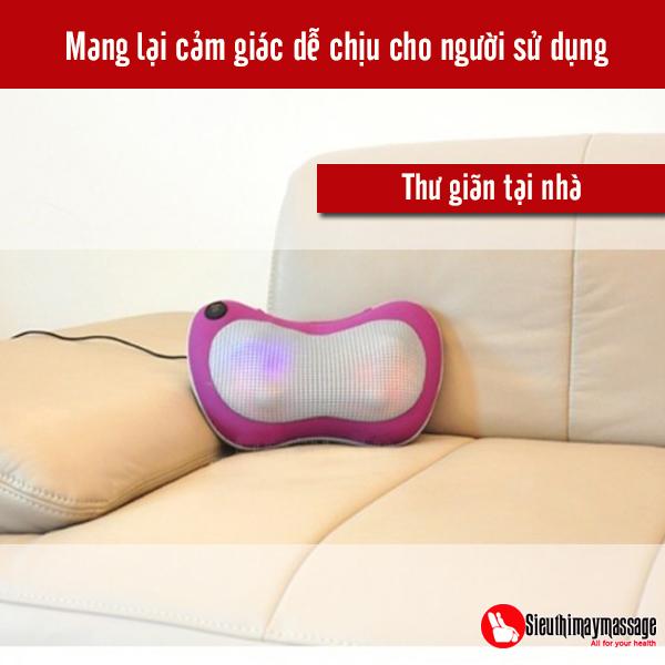 Đệm massage toàn thân mẫu 8 bi mới, gối massage, đai mát xa vai gáy hồng ngoại