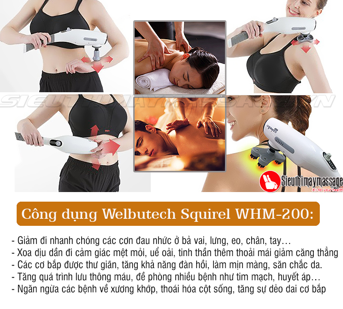 massage cam tay welbutech whm200 3 - Máy massage cầm tay Welbutech Squirel Pin Sạc WHM-200 (Hàn Quốc)