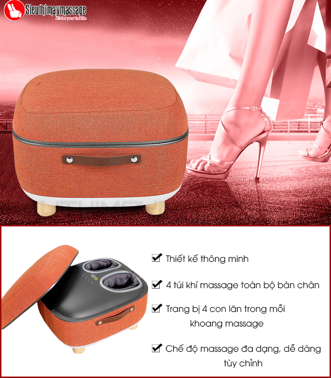 may massage chan OTO QS 88 mau cam 5 - Máy massage chân QSeat OTO QS-88 (màu cam)
