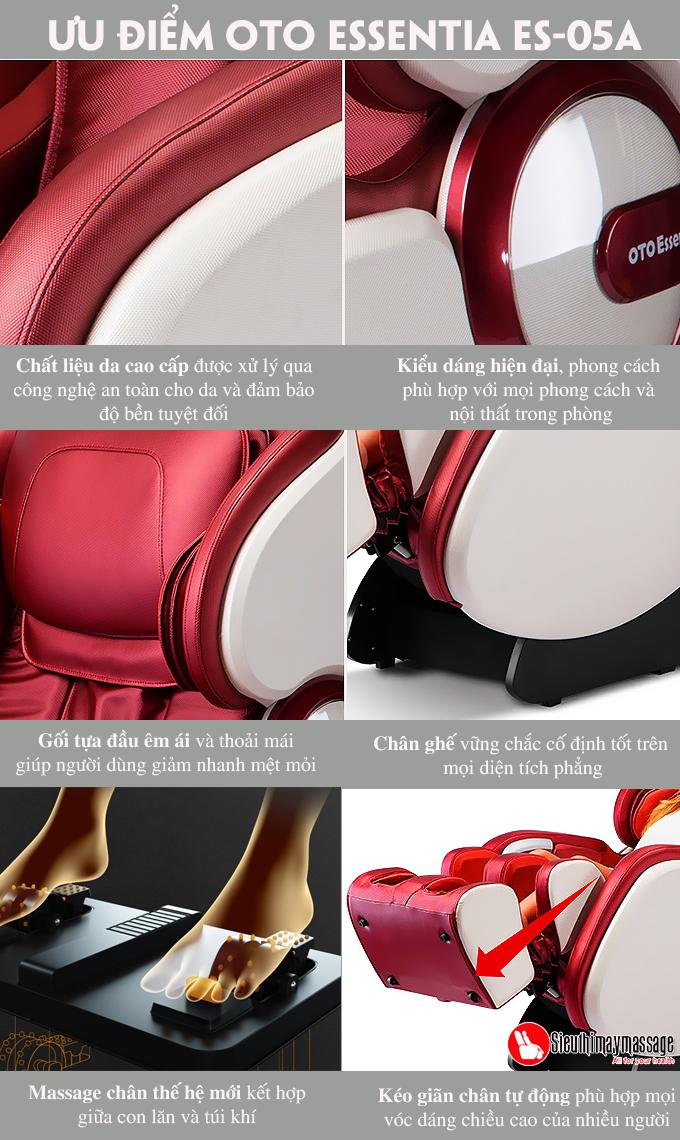 ghe massage toan than OTO Essentia ES 05 A 7 - Ghế massage toàn thân OTO Essentia ES-05A (màu đỏ)
