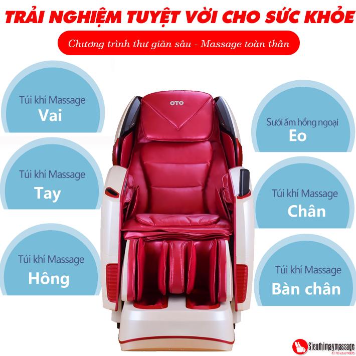 ghe massage toan than oto pe 09 kim cuong hong 11 - Ghế massage toàn thân OTO Prestige Swarovski PE-09 (Red - đính hạt pha lê)