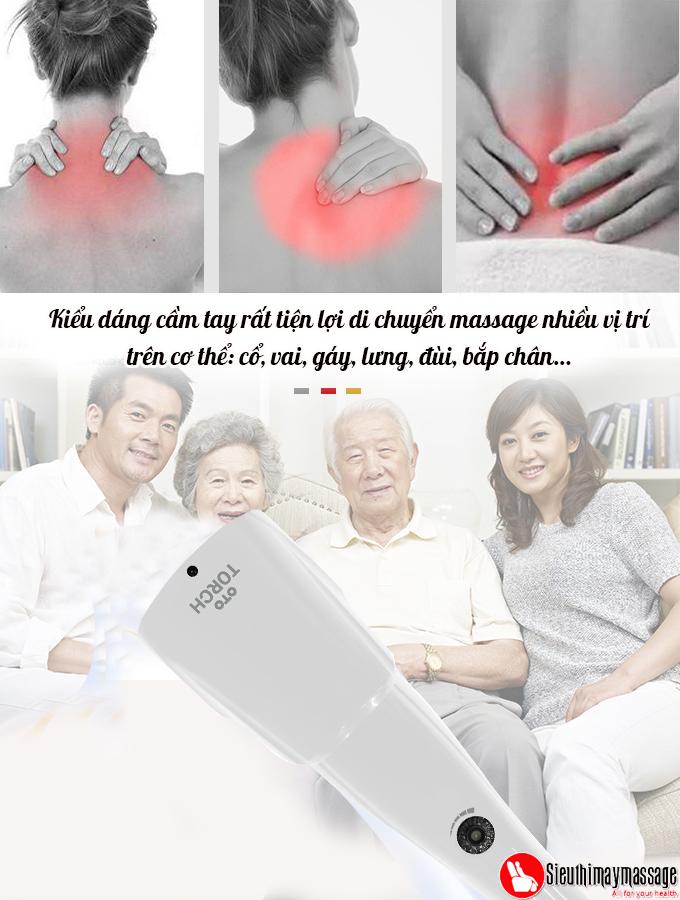 may massage cam tay oto Torch mau trang 4 - Máy massage cầm tay OTO TR-150 (Pin sạc) - Màu trắng