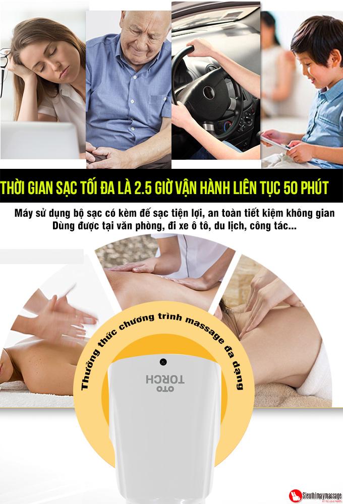 may massage cam tay oto Torch mau trang 5 - Máy massage cầm tay OTO TR-150 (Pin sạc) - Màu trắng