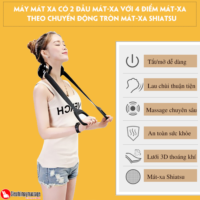 may massage co vai gay lung OTO Neck Spa white 9 - Máy massage cổ OTO Neck Spa NA-99 (màu trắng)
