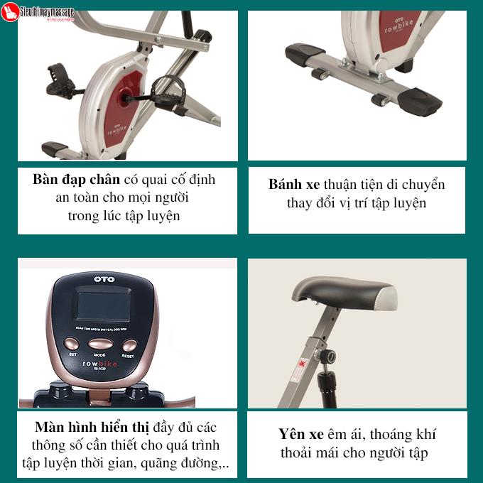 xe dap tap the duc oto Row Bike RB 1000 bac 3 - Xe đạp tập thể dục OTO ROW BIKE RB-1000 (màu bạc)