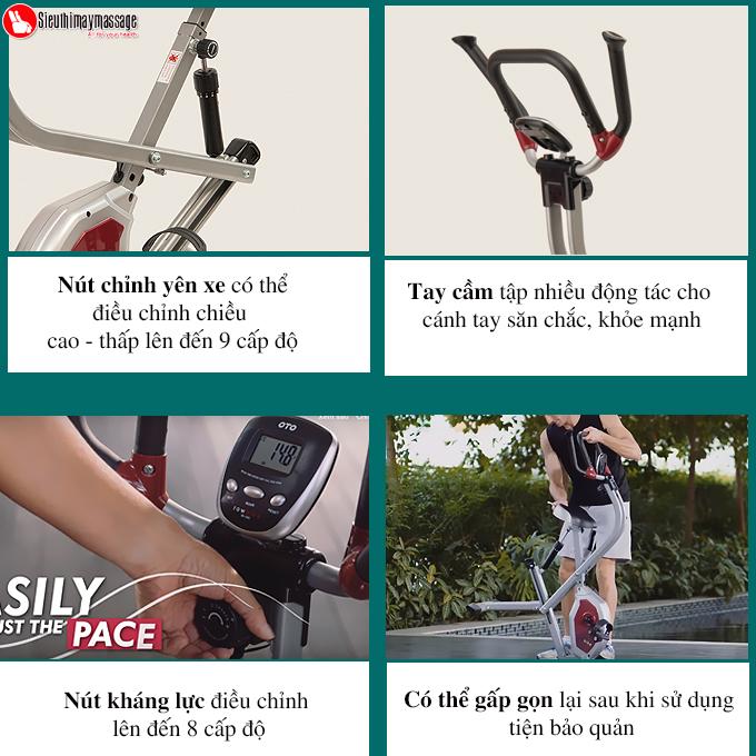xe dap tap the duc oto Row Bike RB 1000 bac 4 - Xe đạp tập thể dục OTO ROW BIKE RB-1000 (màu bạc)