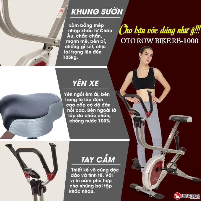 xe dap tap the duc oto Row Bike RB 1000 bac 5 - Xe đạp tập thể dục OTO ROW BIKE RB-1000 (màu bạc)