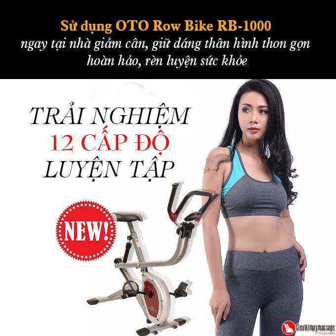 xe dap tap the duc oto Row Bike RB 1000 bac 7 - Xe đạp tập thể dục OTO ROW BIKE RB-1000 (màu bạc)