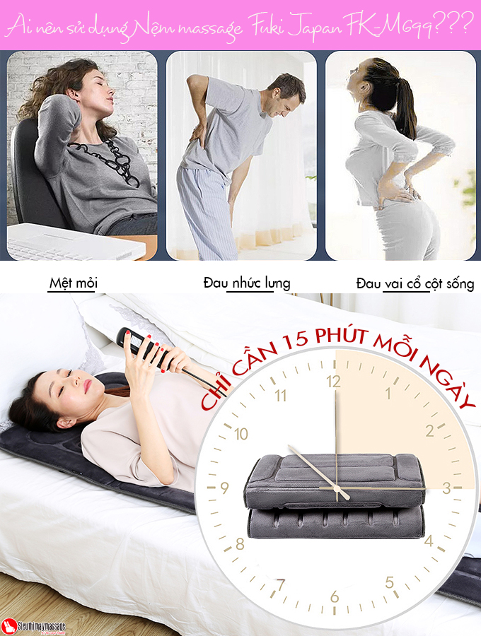 nem toan than fuki japan fk m 699 7 - Nệm massage toàn thân Fuki Japan FK-M699 (dòng cao cấp)