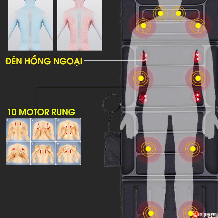 nem massage toan than fuki m 799 4 - Nệm massage toàn thân Fuki Japan FK-M799 (tích hợp nhiệt và đèn hồng ngoại)