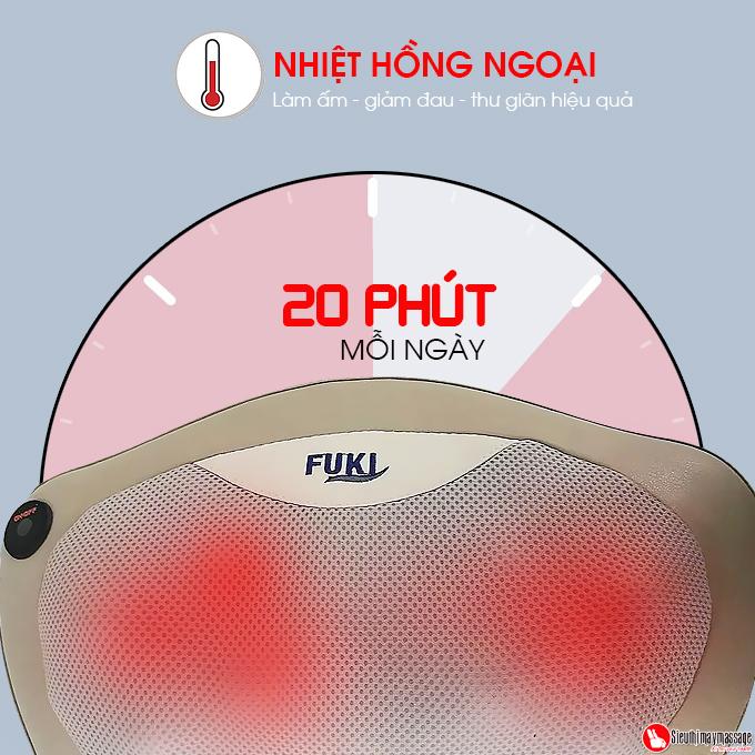 goi massage Shiatsu Fuki FK 568 17 - Gối massage hồng ngoại đau vai cổ lưng Shiatsu Fuki FK-568