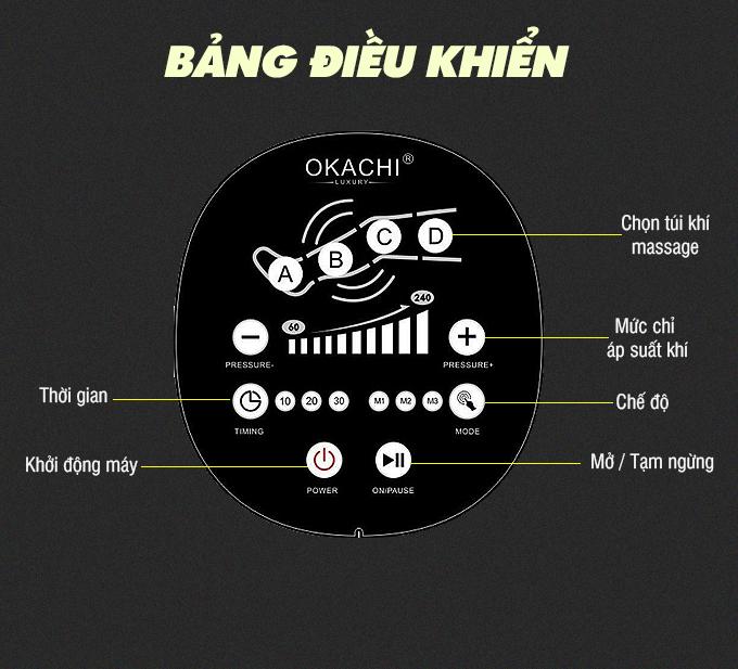 may massage chan okachi jp 2000 8 - Máy nén ép trị liệu suy giãn tĩnh mạch OKACHI LUXURY JP-2000