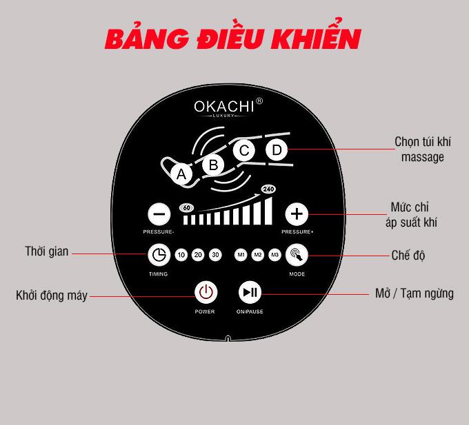 may massage chan okachi jp 3000 plus 6 - Máy nén ép trị liệu suy giãn tĩnh mạch OKACHI LUXURY JP-3000 Plus (Pin sạc)