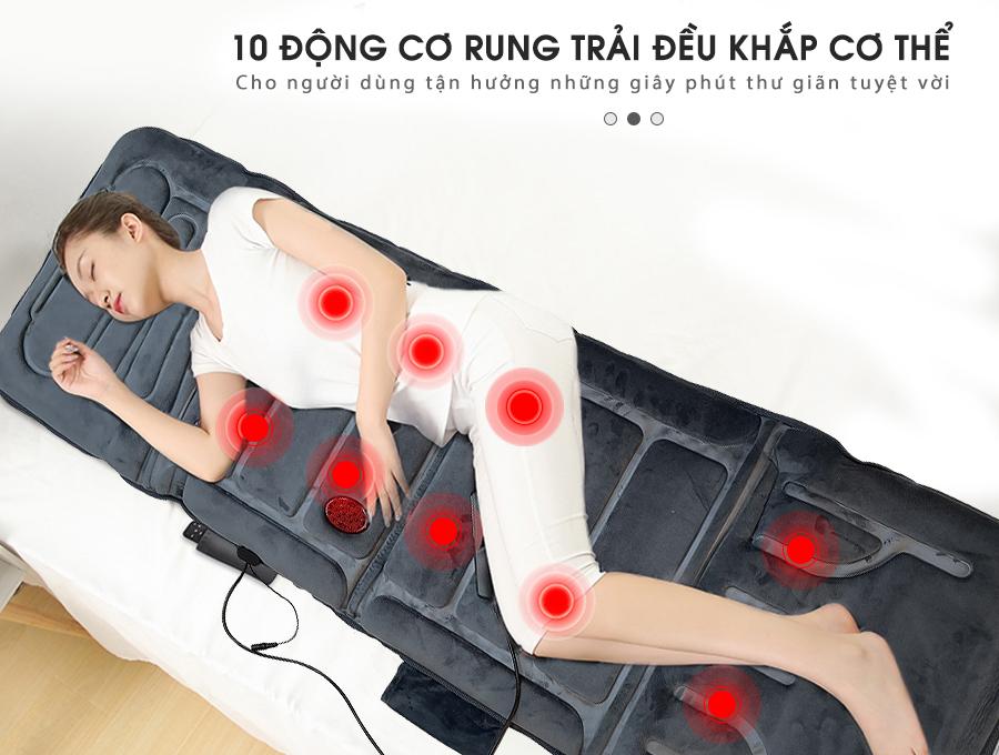 nem massage toan than fuki m 799 xam 10 - Nệm massage toàn thân FUKI nhiệt và hồng ngoại FK-M799 (màu xám)