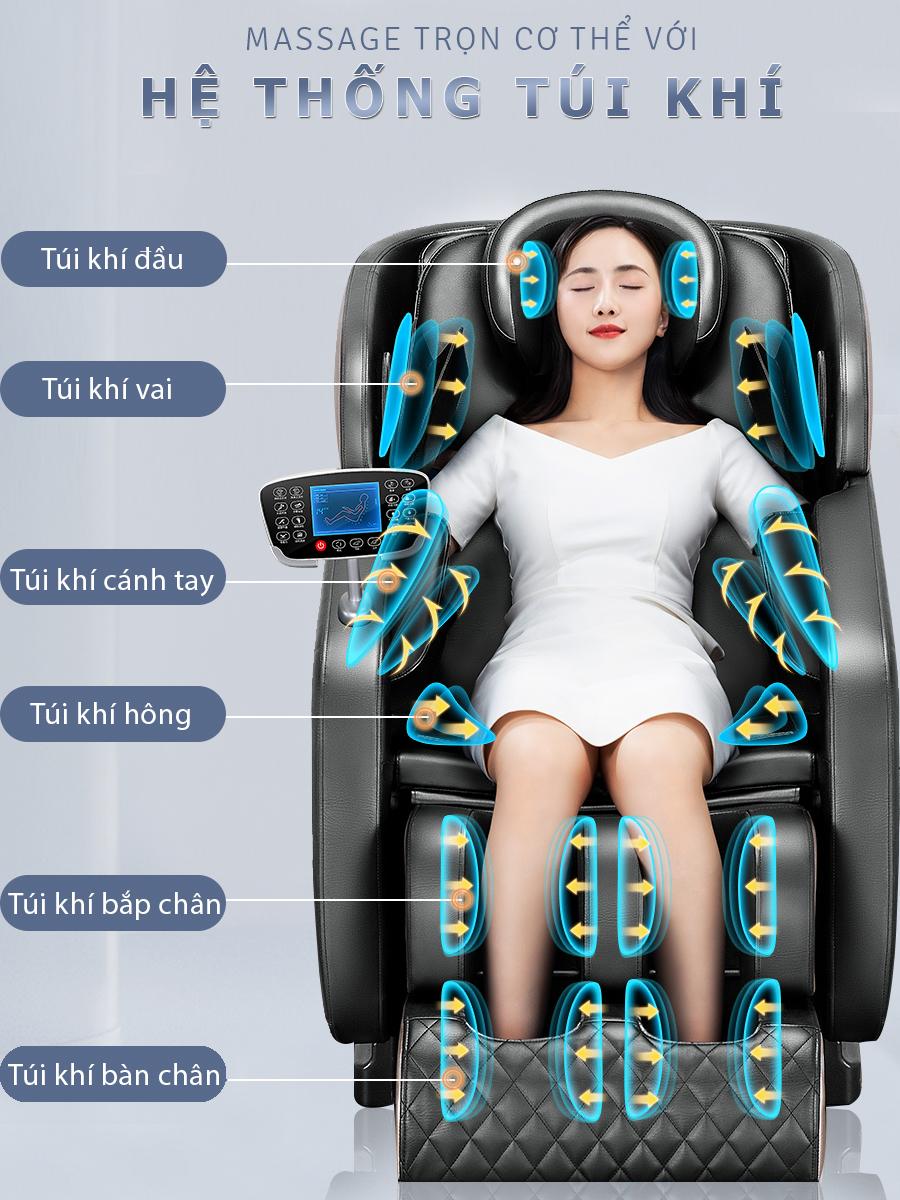 ghe massage okachi Luxury Star JP I 9 8 - Ghế massage toàn thân OKACHI LUXURY Star JP-I9 (xám)